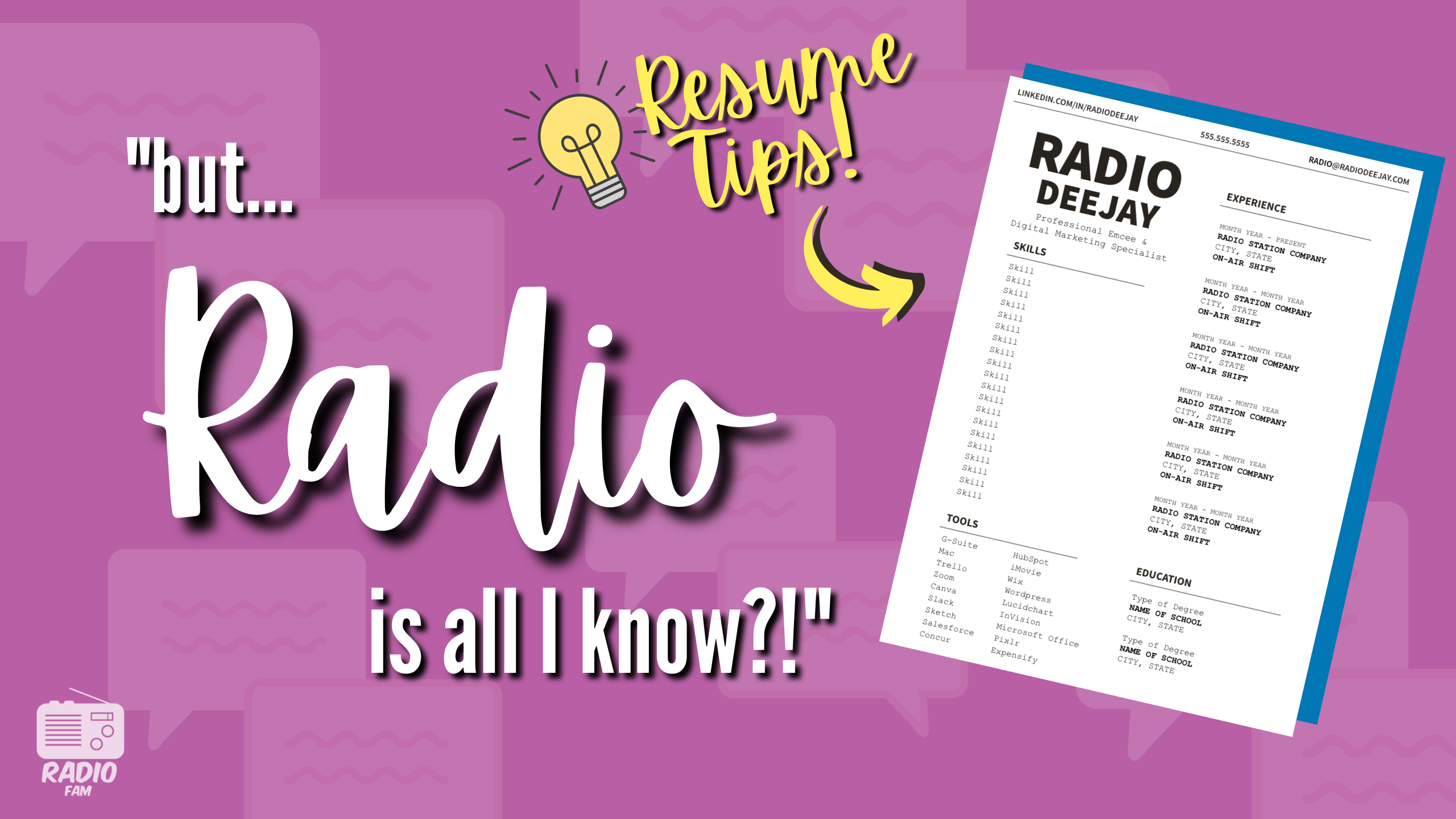 """""""But RADIO is ALL I Know?!"""" RESUME TIPS!"""