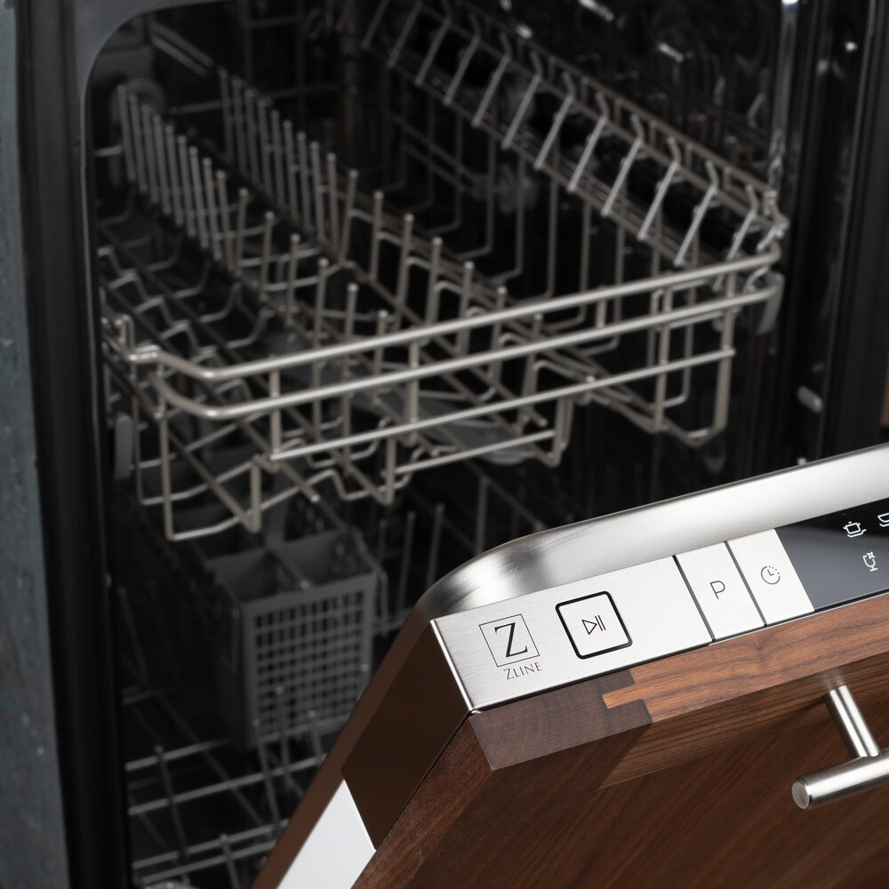 How to clean your dishwasher empty ZLINE wood panel dishwasher slightly open