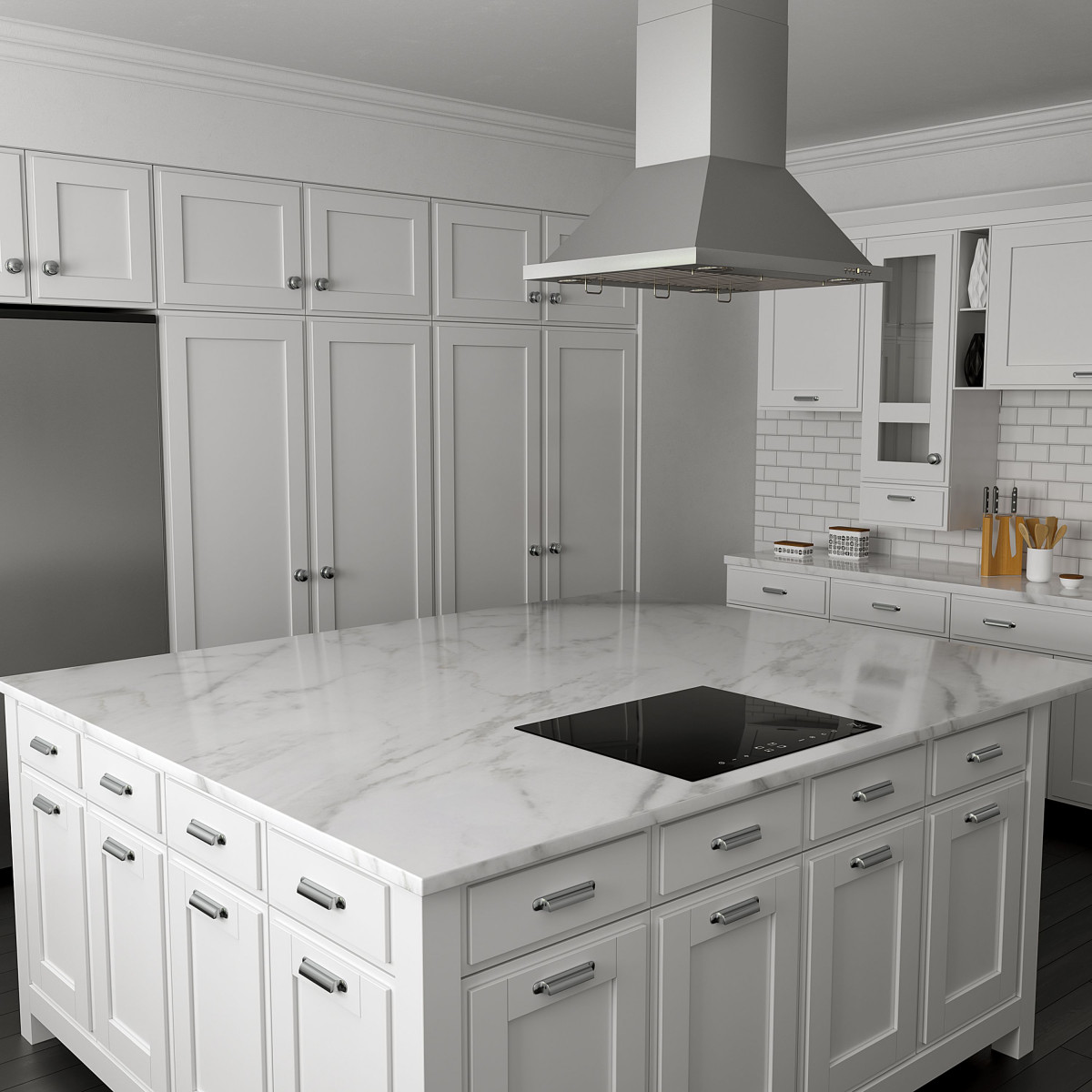 ZLINE induction cooktops in white marble kitchen with island range hood