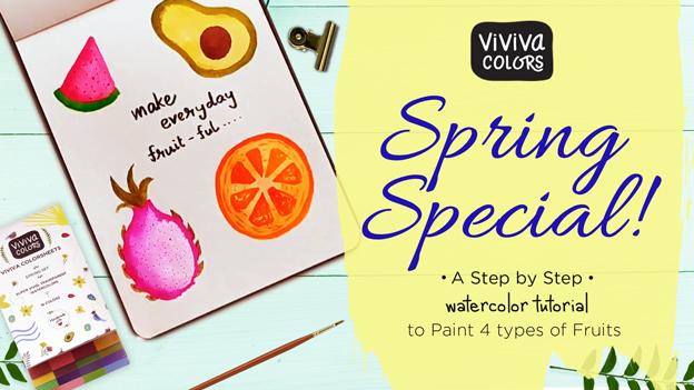 Spring Painting - '4 types of fruits' with watercolors!