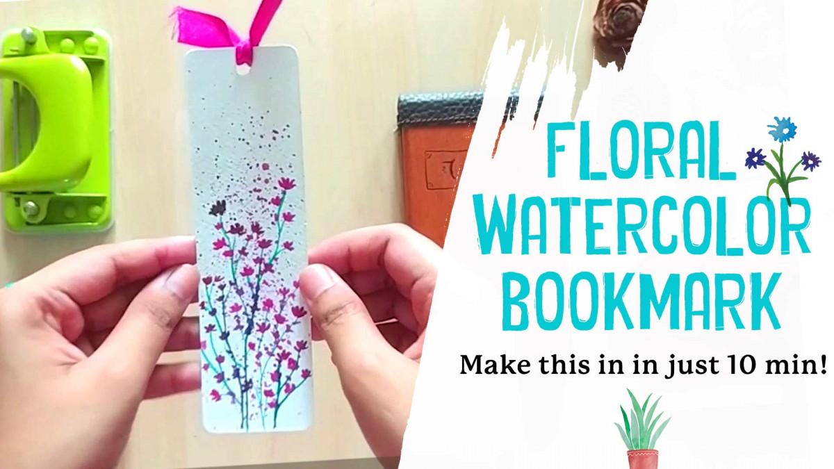 DIY - Floral Watercolor Bookmark in just 10min