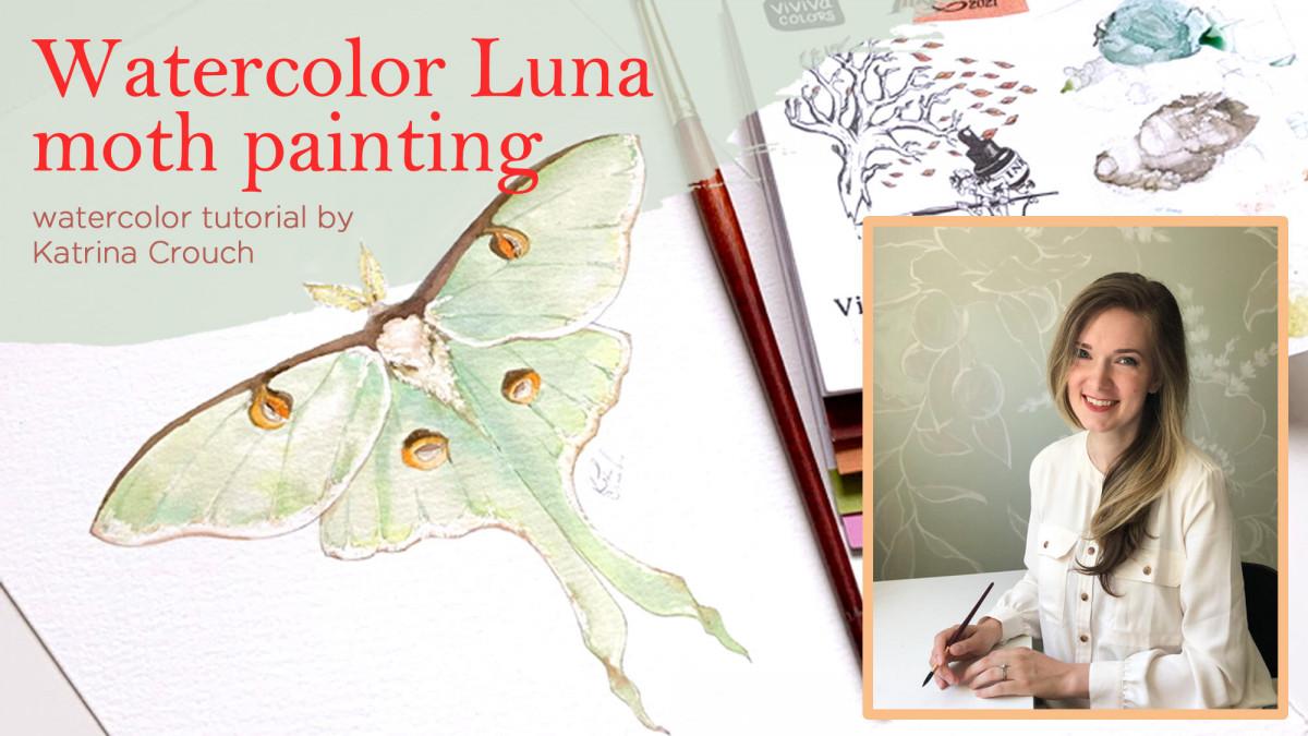 Watercolor Luna moth painting