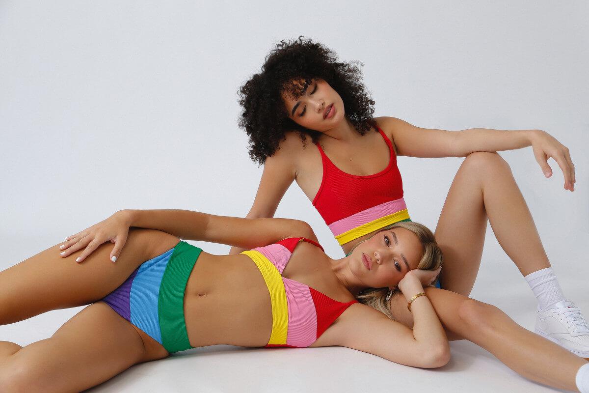 beach-riot-models-wearing-rainbow-colorblock-bikinis
