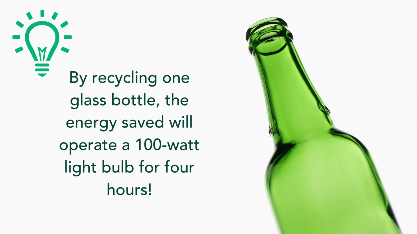 Just by recycling one glass bottle, the energy saved will operate a 100-watt light bulb for four hours