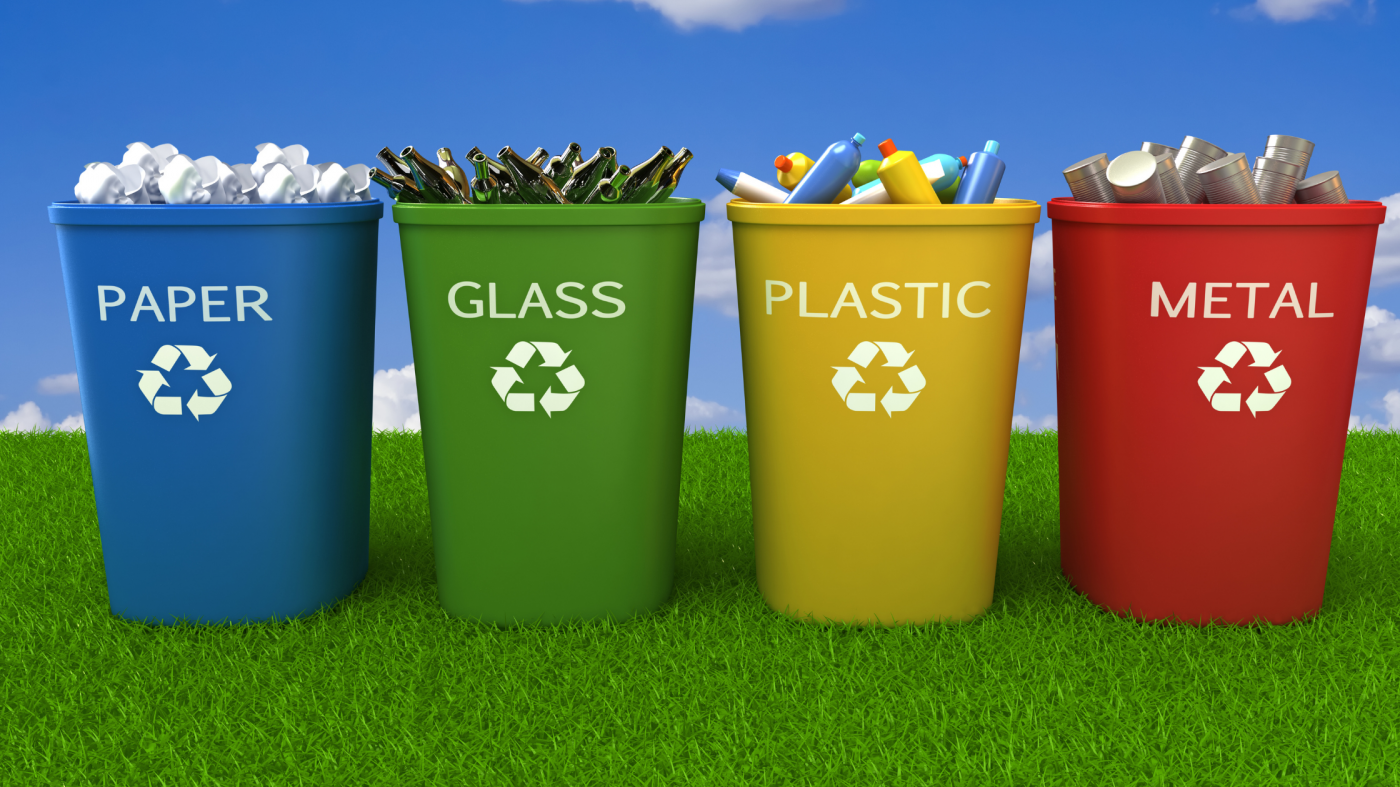 Recycling bin colors stand for different recyclable materials