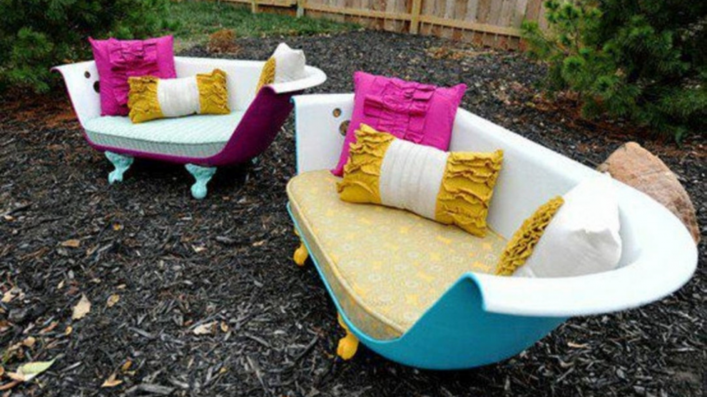 Recycling and Upcycling: an olf bathtub transformed into a sofa and an armchair